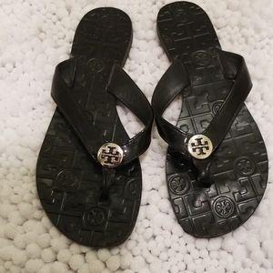 Tory Burch Patent Leather Black Flip Flops Size 9M